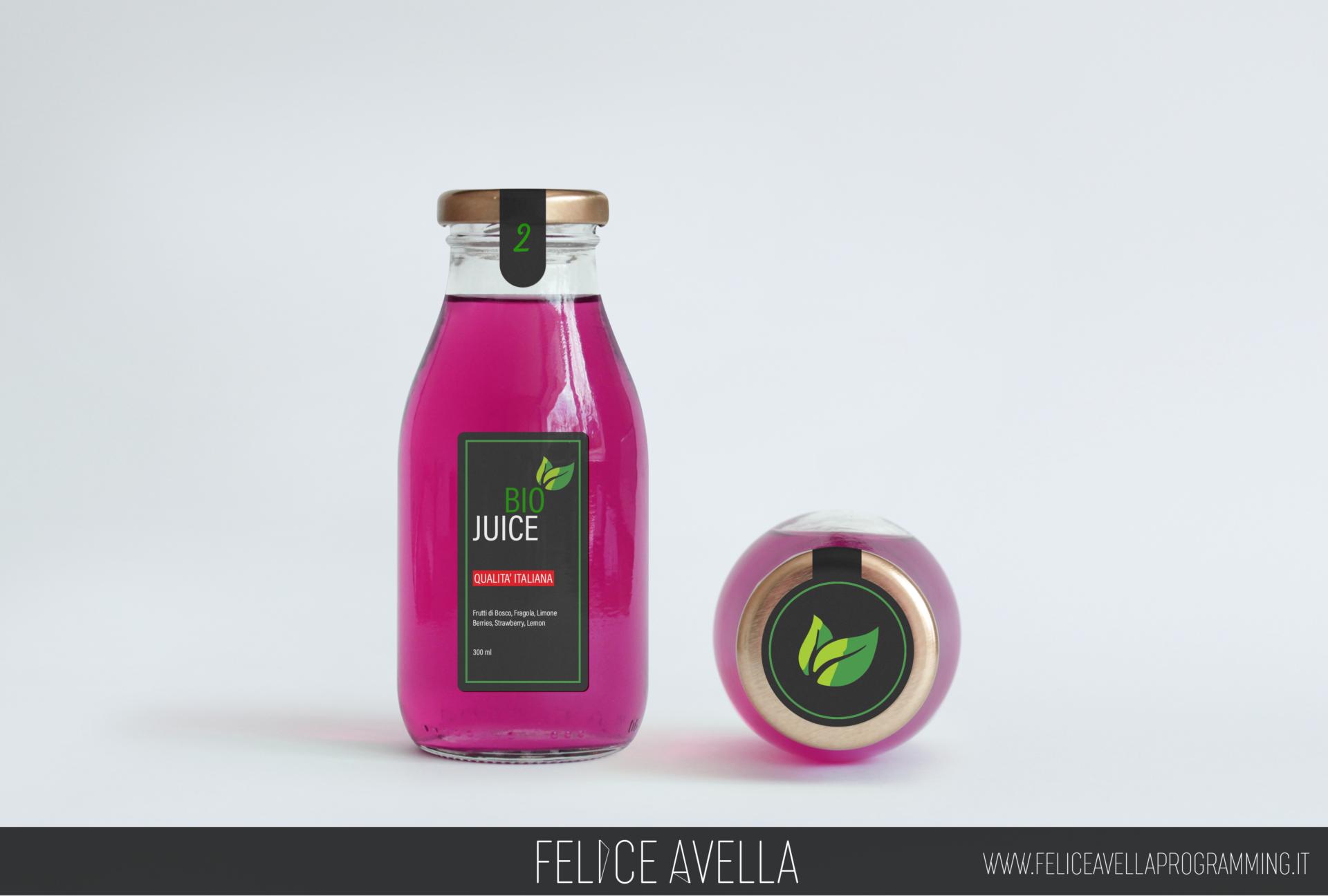 packaging bottiglia di succo bio